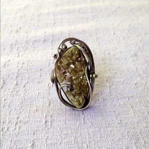 Vintage Jewelry - Vintage Raw Geode Statement Ring